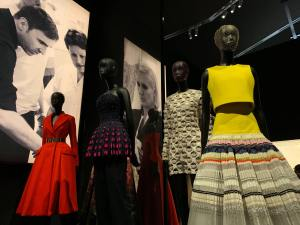 Five costumes from V&A costume collection on mannequins